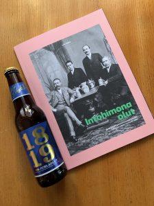 Kuvassa kirja ja olutpullo