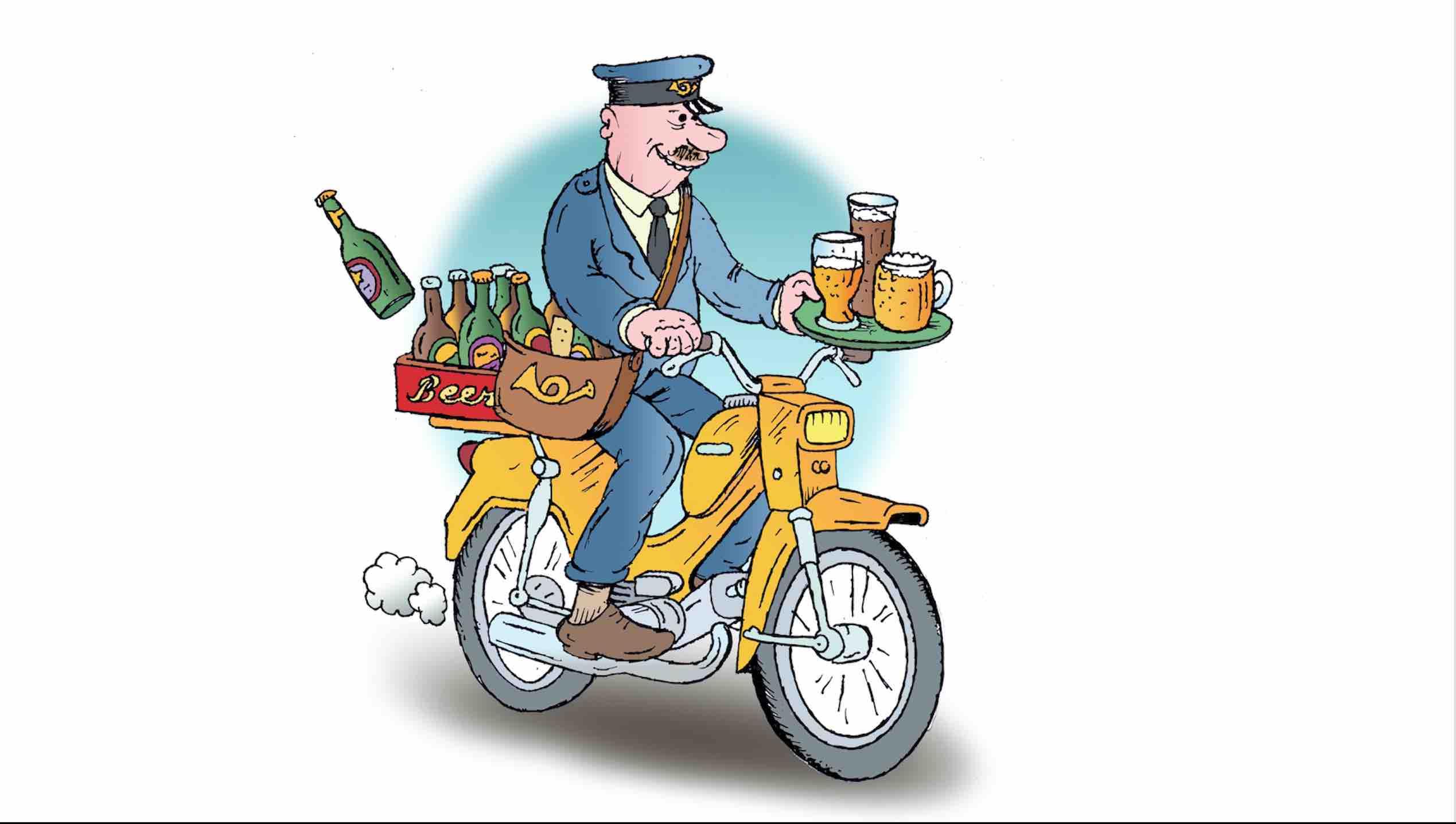 Sarjakuvassa mies ajaa mopolla olutpullot tarjottimella