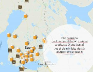 Kuvassa Suomen kartta