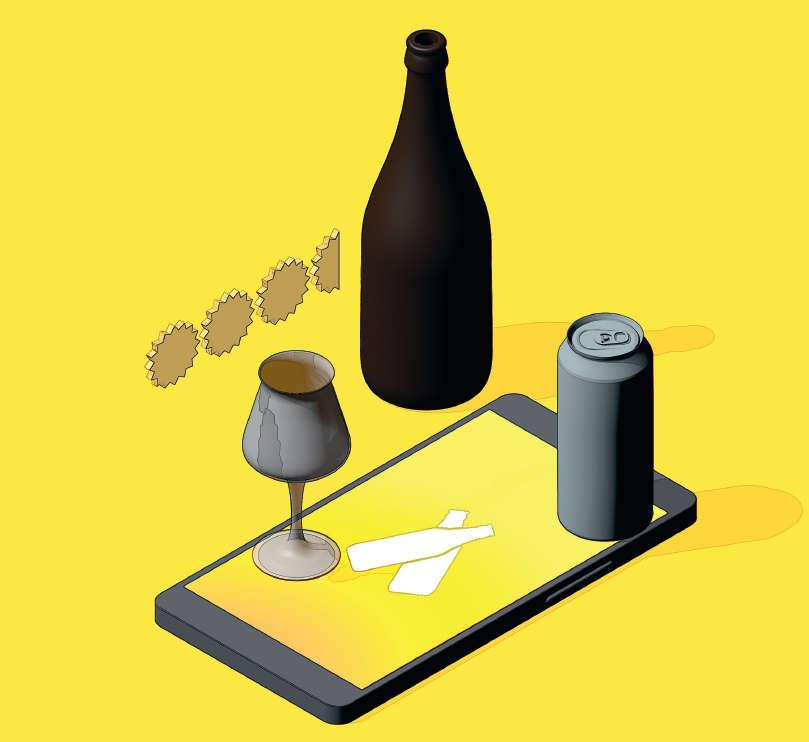 puhelin ja juomia
