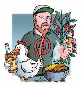 Piirretty mies kuvassa myös kana.