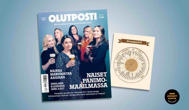 Kuvassa naisia olutlasit kädessä Olutposti lehden kannessa