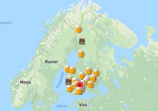 Kuvassa kartta jossa esitlety suomen oluthuoneet